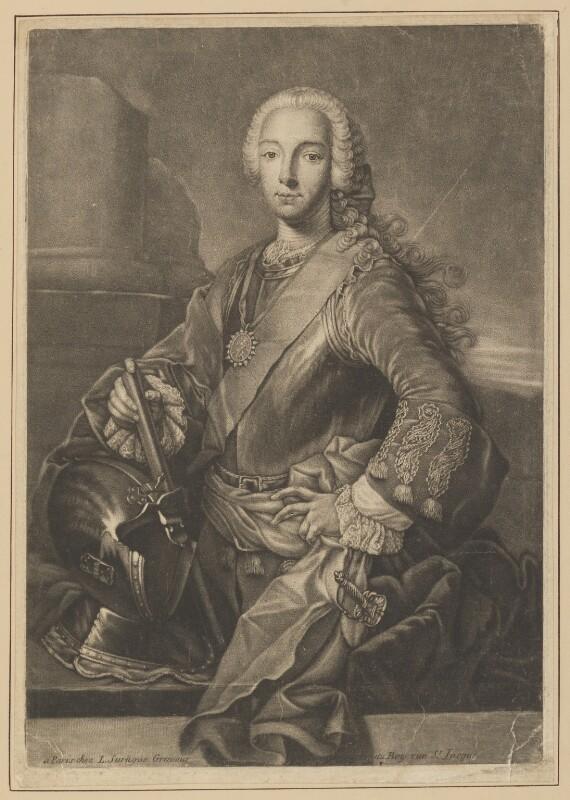 Prince Charles Edward Stuart, by Louis Surugue, after  Domenico Duprà, (1740) - NPG D34703 - © National Portrait Gallery, London