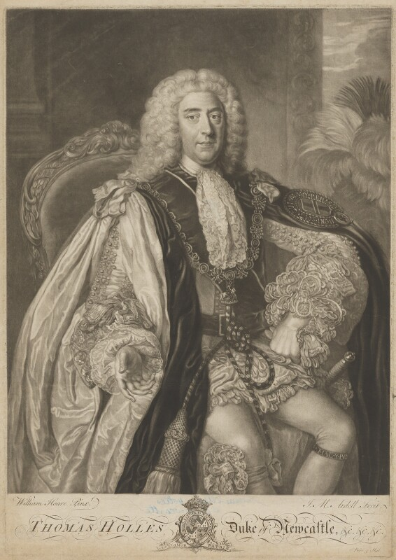 Thomas Pelham-Holles, 1st Duke of Newcastle-under-Lyne, by James Macardell, after  William Hoare, mid 18th century - NPG D9401 - © National Portrait Gallery, London