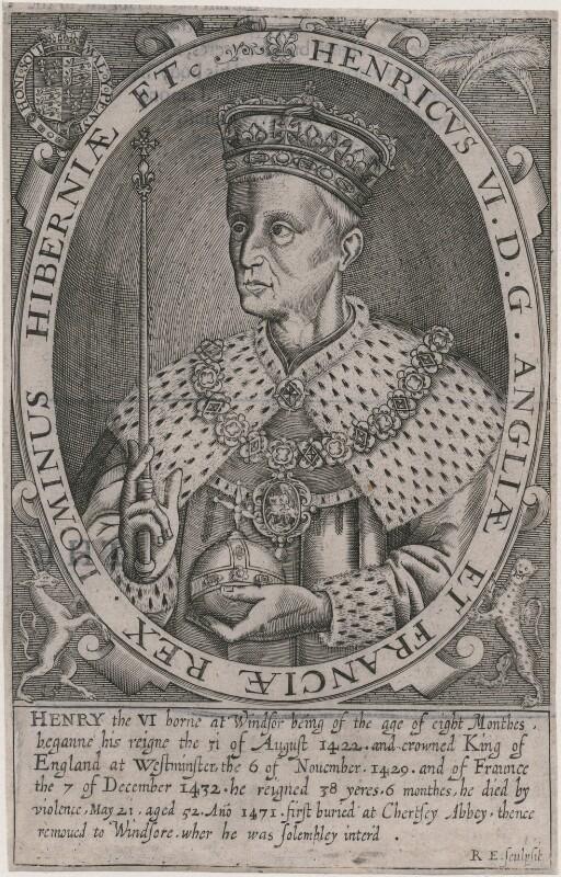King Henry VI, by Renold or Reginold Elstrack (Elstracke), published 1638 (1618) - NPG D9404 - © National Portrait Gallery, London