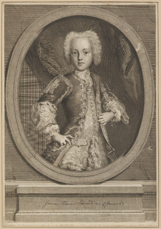 Prince Charles Edward Stuart, by Nicolas Etienne Edelinck, after  Antonio David, 1726 - NPG D34707 - © National Portrait Gallery, London