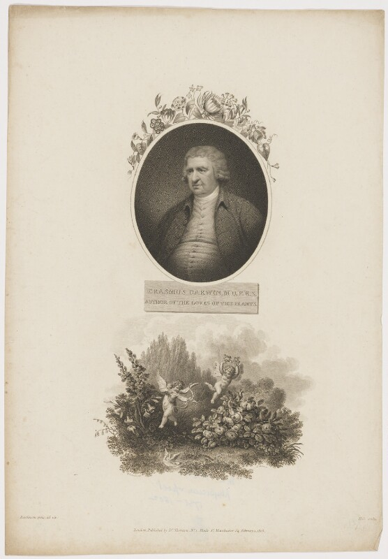 Erasmus Darwin, by William Holl Sr, after  J. Rawlinson, and by  Thomas Milton, after  Richard Corbould, published by  Robert John Thornton, published 1 February 1803 - NPG D34688 - © National Portrait Gallery, London