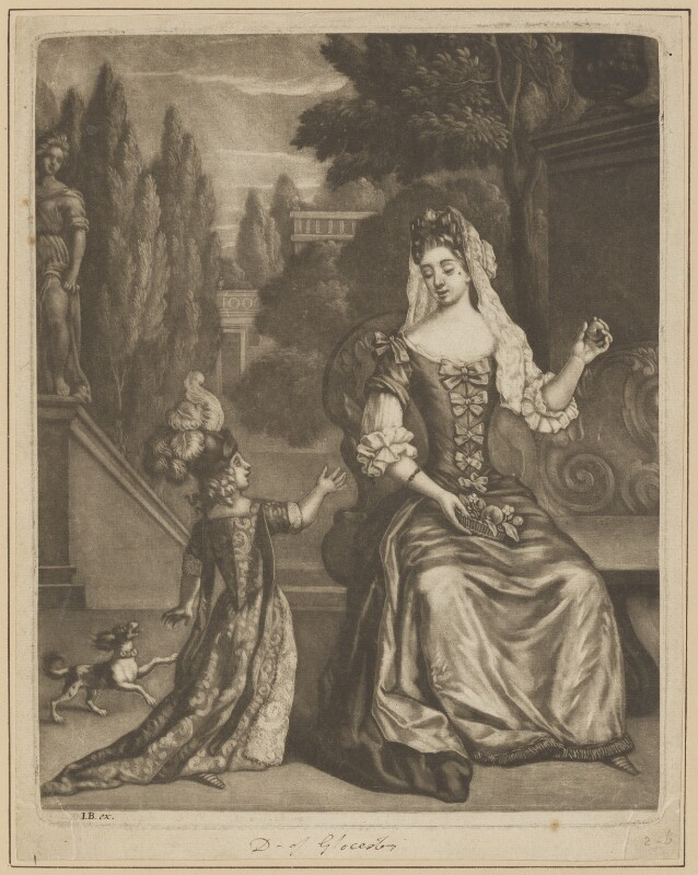 Prince James Francis Edward Stuart; Mary of Modena, after Unknown artist, 1690s - NPG D34721 - © National Portrait Gallery, London