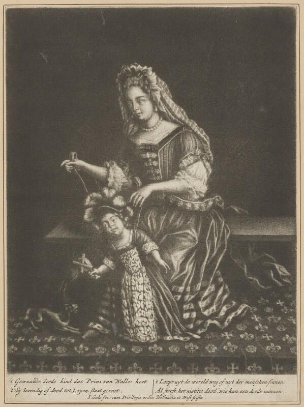 Prince James Francis Edward Stuart; Mary of Modena, by Jacob Gole, after  Unknown artist, 1690s - NPG D34722 - © National Portrait Gallery, London