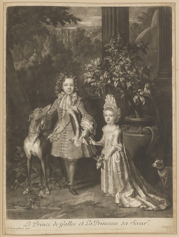 Prince James Francis Edward Stuart; Princess Louisa Maria Theresa Stuart, by John Smith, after  Nicolas de Largillière, 1699 (1695) - NPG D34723 - © National Portrait Gallery, London