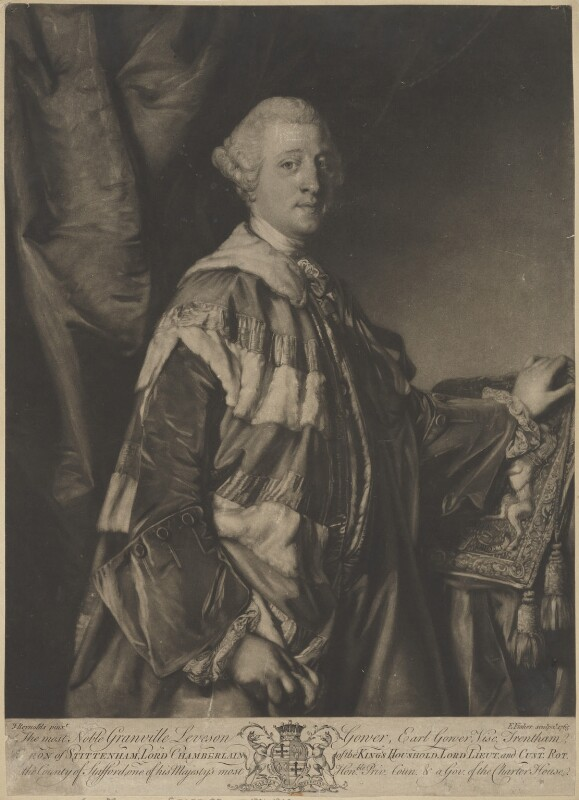 Granville Leveson-Gower, 1st Marquess of Stafford, by Edward Fisher, after  Sir Joshua Reynolds, 1765 (1763) - NPG D9408 - © National Portrait Gallery, London