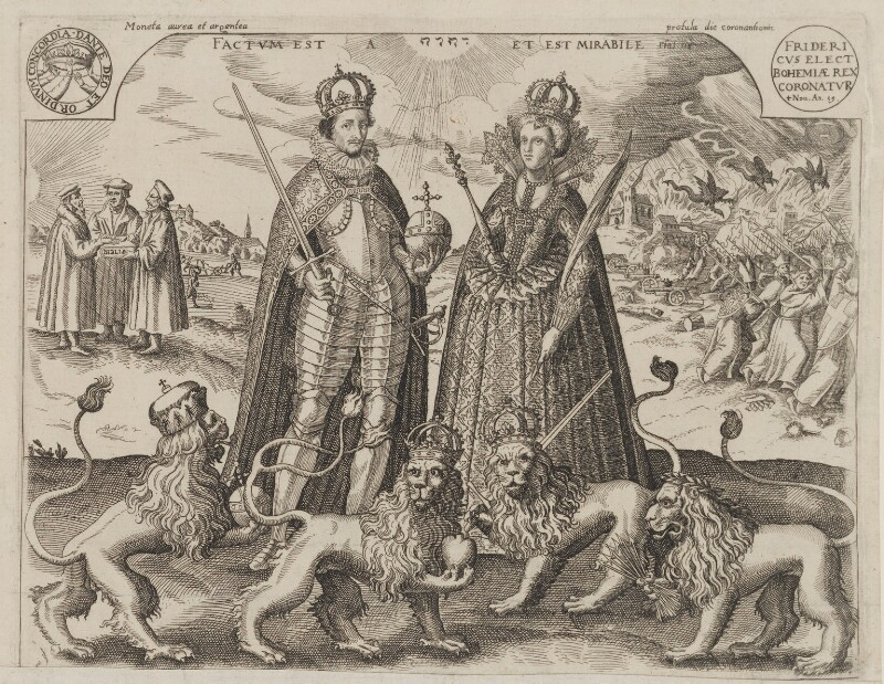 Frederick V, King of Bohemia and Elector Palatine; Princess Elizabeth, Queen of Bohemia and Electress Palatine, after Unknown artist, 1619 - NPG D9482 - © National Portrait Gallery, London