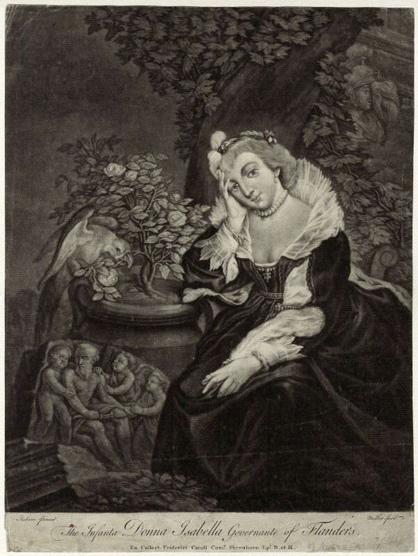 Infanta Isabella Clara Eugenia, by Andrew Miller, after  Sir Peter Paul Rubens, 1730s-1740s - NPG D34778 - © National Portrait Gallery, London