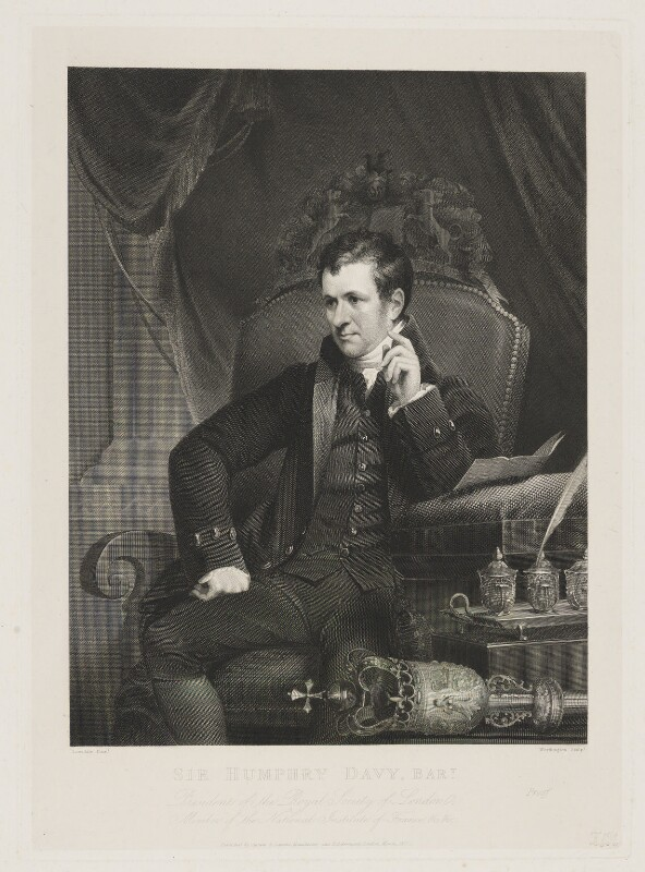 Sir Humphry Davy, Bt, by William Henry Worthington, published by  Agnew & Zanetti, and published by  Rudolph Ackermann, after  James Lonsdale, published March 1827 - NPG D34825 - © National Portrait Gallery, London