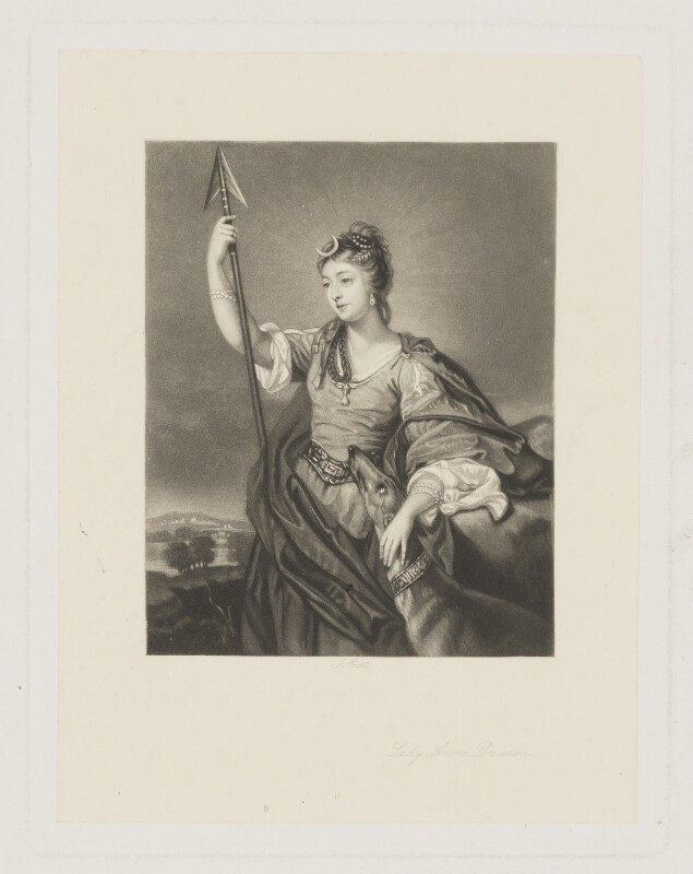 Lady Anne Dawson (née Fermor), by James Scott, after  Sir Joshua Reynolds, (1754) - NPG D34831 - © National Portrait Gallery, London