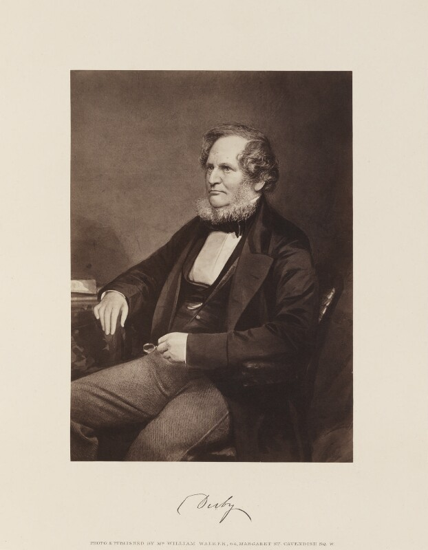 Edward Stanley, 14th Earl of Derby, by and published by William Walker, published 1867 - NPG Ax15842 - © National Portrait Gallery, London