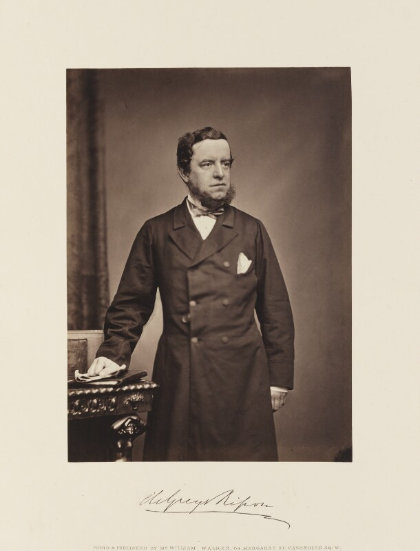 George Frederick Samuel Robinson, 1st Marquess of Ripon and 3rd Earl de Grey, by William Walker, circa 1865 - NPG Ax15864 - © National Portrait Gallery, London