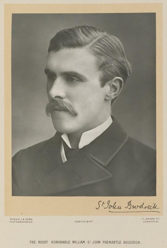 (William) St John Fremantle Brodrick, 1st Earl of Midleton, by James Russell & Sons, late 1890s - NPG Ax16020 - © National Portrait Gallery, London