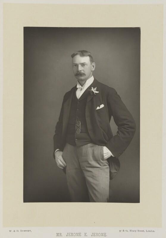 Jerome Klapka Jerome, by W. & D. Downey, published by  Cassell & Company, Ltd, published 1893 - NPG Ax16151 - © National Portrait Gallery, London