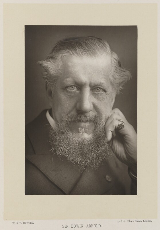Sir Edwin Arnold, by W. & D. Downey, published by  Cassell & Company, Ltd, published 1893 - NPG Ax16173 - © National Portrait Gallery, London