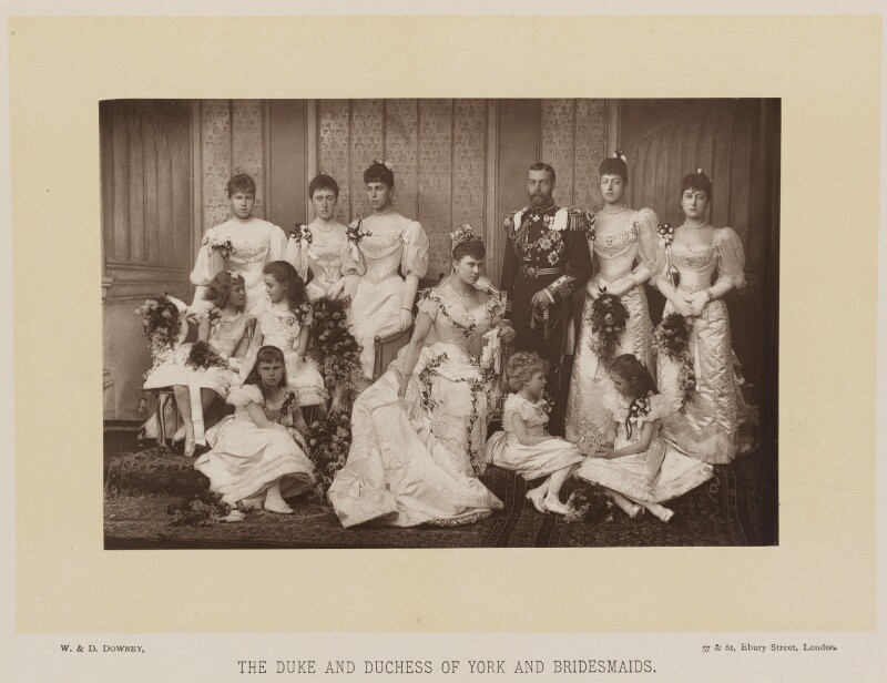 'The Duke and Duchess of York and Bridesmaids', by W. & D. Downey, published by  Cassell & Company, Ltd, 6 July 1893, published 1893 - NPG Ax16180 - © National Portrait Gallery, London