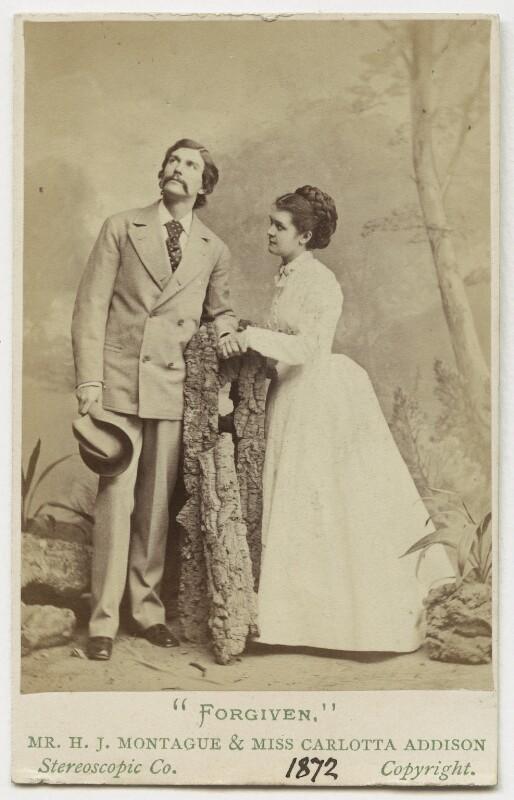 Henry James Montague (né Mann); Carlotta Addison (Mrs Charles La Trobe) in 'Forgiven', by London Stereoscopic & Photographic Company, 1872 - NPG Ax18175 - © National Portrait Gallery, London