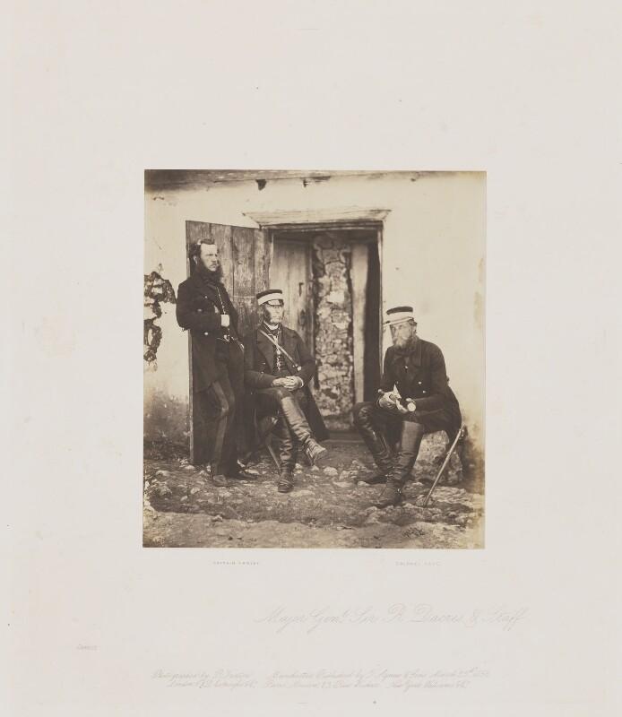 Sir Edward Bruce Hamley; Sir John Miller Adye; Sir Richard James Dacres, by Roger Fenton, circa 1856 - NPG Ax24913 - © National Portrait Gallery, London