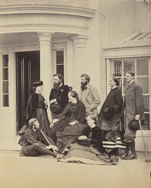 Ernest Villiers; Edith Bulwer-Lytton (née Villiers), Countess of Lytton; Henry Brougham Loch, 1st Baron Loch; Elizabeth Villiers, Baroness Loch; Henry Trotter; Maria Theresa Earle (née Villiers); Charles William Earle, by Unknown photographer,  - NPG Ax26304 - © National Portrait Gallery, London