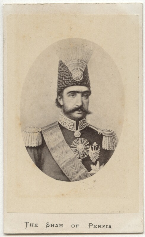 Nasser al-Din, Shah of Persia, by Makzamoff, after  Unknown artist, 1860s-1870s - NPG Ax28414 - © National Portrait Gallery, London