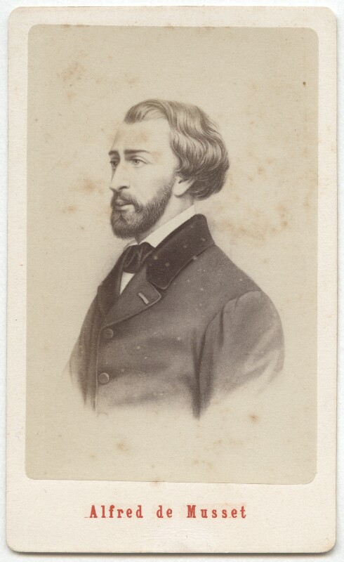 (Louis Charles) Alfred de Musset, by Etienne Neurdein, after  Unknown artist, 1870s - NPG Ax28559 - © National Portrait Gallery, London