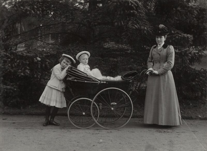 Princess Mary, Countess of Harewood; Prince Henry, Duke of Gloucester with their nanny, by Lafayette (Lafayette Ltd), 1902 - NPG Ax29318 - © National Portrait Gallery, London