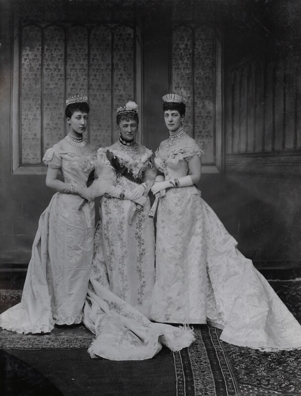 Princess Louise, Duchess of Fife; Louise, Queen of Denmark; Queen Alexandra, by Lafayette, 6 July 1893 - NPG Ax36415 - © National Portrait Gallery, London