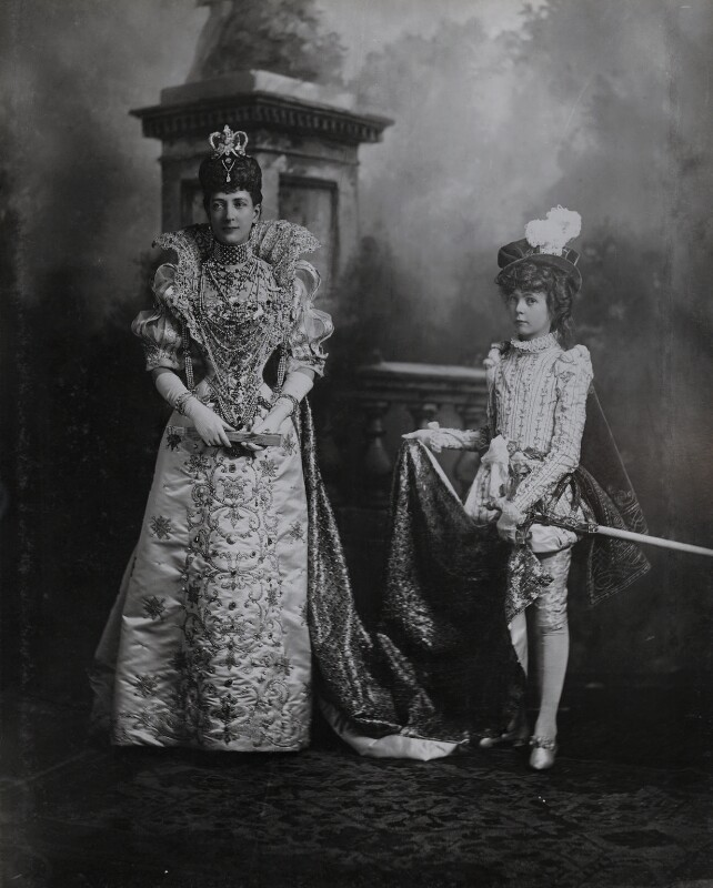 Queen Alexandra when Princess of Wales as Queen Marguerite de Valois and Hon. (Alexandra) Louvima Elizabeth Checkley (née Knollys) as her page), by Lafayette, 2 July 1897 - NPG Ax36416 - © National Portrait Gallery, London