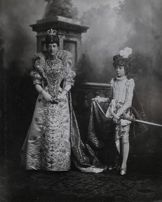Queen Alexandra when Princess of Wales as Queen Marguerite de Valois and Hon. (Alexandra) Louvima Elizabeth Checkley (née Knollys) as her page), by Lafayette (Lafayette Ltd), 2 July 1897 - NPG Ax36416 - © National Portrait Gallery, London