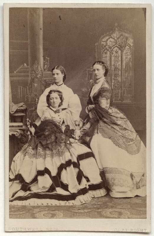 Louise, Queen of Denmark; Maria Feodorovna, Empress of Russia (Princess Dagmar); Queen Alexandra, by Southwell Brothers, October 1863 - NPG Ax38294 - © National Portrait Gallery, London