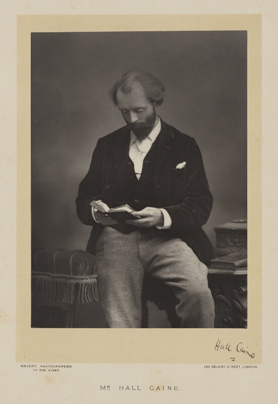 Sir (Thomas Henry) Hall Caine, by Walery, published by  Sampson Low & Co, published December 1890 - NPG Ax38518 - © National Portrait Gallery, London