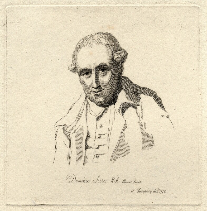 Dominic Serres, by Mary Dawson Turner (née Palgrave), after  Ozias Humphry, (1778) - NPG D9494 - © National Portrait Gallery, London