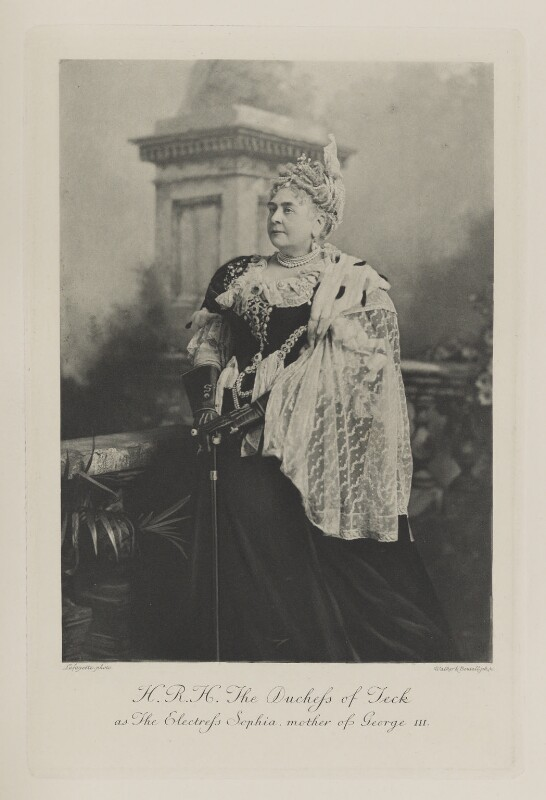 Princess Mary Adelaide, Duchess of Teck as The Electress Sophia, mother of George I, by Lafayette, photogravure by  Walker & Boutall, 2 July 1897; published 1899 - NPG Ax41010 - © National Portrait Gallery, London