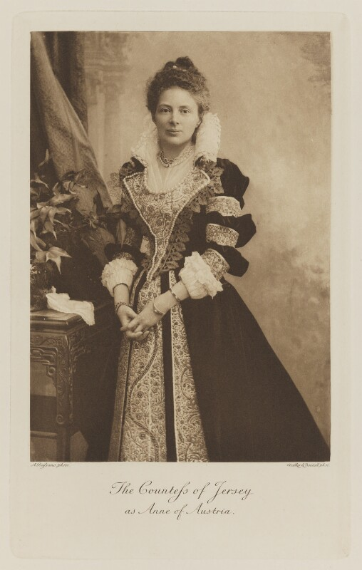 Margaret Elizabeth Child-Villiers (née Leigh), Countess of Jersey as Anne of Austria, by Alexander Bassano, photogravure by  Walker & Boutall, 1897; published 1899 - NPG Ax41064 - © National Portrait Gallery, London