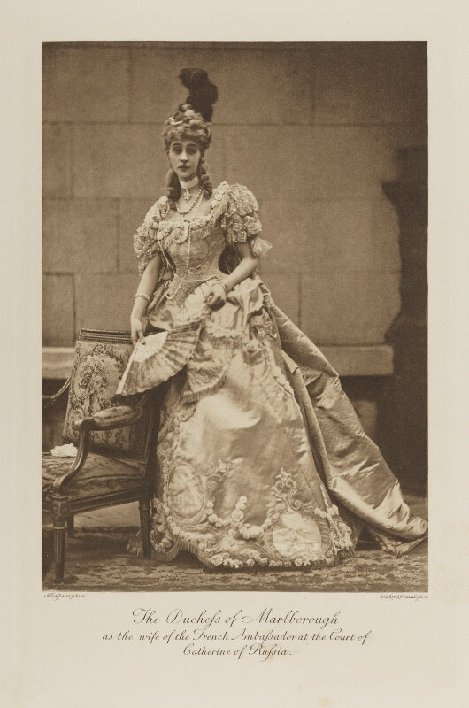 Consuelo (née Vanderbilt), Duchess of Marlborough (later Mrs Balsan) as the wife of the French Ambassador at the Court of Catherine of Russia, by Alexander Bassano, photogravure by  Walker & Boutall, 1897; published 1899 - NPG Ax41116 - © National Portrait Gallery, London