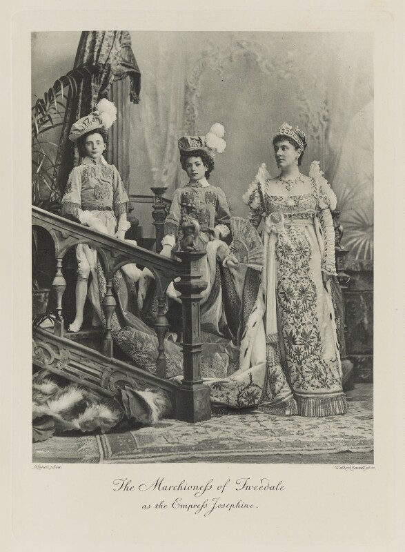 Lord Arthur Vincent Hay; William George Montagu Hay, 11th Marquess of Tweeddale; Candida Louise (née Bartolucci), Marchioness of Tweeddale as the Empress Josephine, by Lafayette (Lafayette Ltd), photogravure by Walker & Boutall, 1897; published 1899 - NPG Ax41133 - © National Portrait Gallery, London