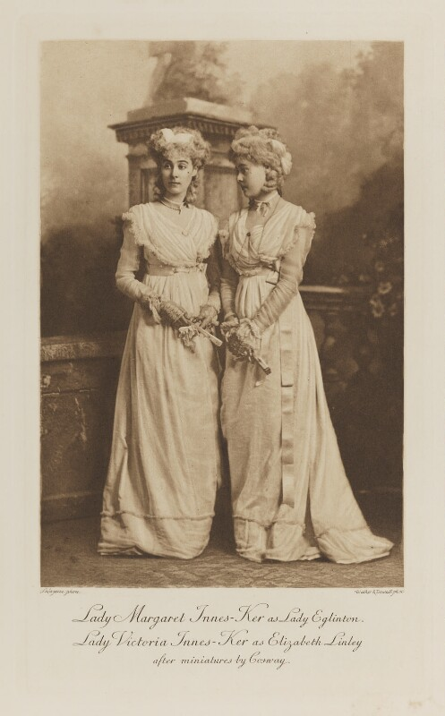 Lady Margaret Frances Susan Orr-Ewing (née Innes-Ker) as Lady Eglinton and Lady Victoria Alexandrina Villiers (née Innes-Ker) as Elizabeth Linley, after miniatures by Cosway, by Lafayette, photogravure by  Walker & Boutall, 1897; published 1899 - NPG Ax41169 - © National Portrait Gallery, London