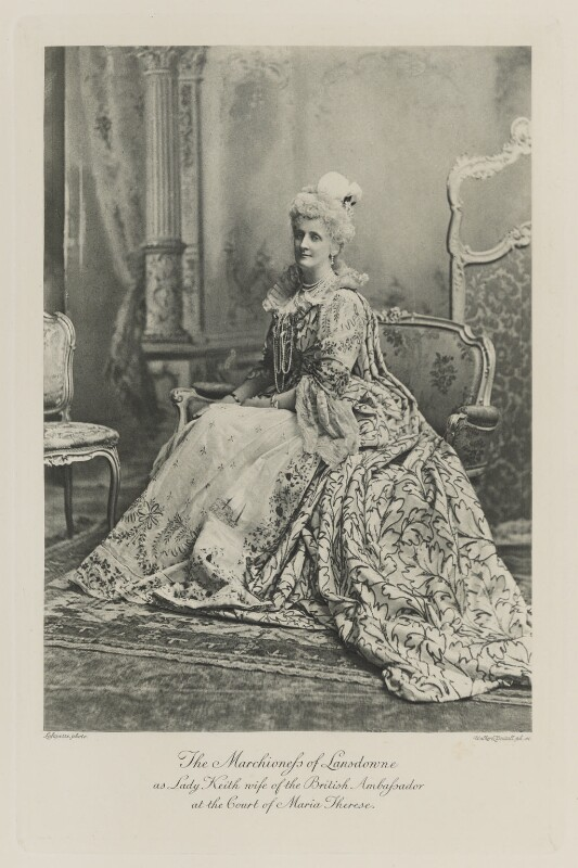 Maud Evelyn (née Hamilton), Marchioness of Lansdowne as Lady Keith, wife of the British Ambassador at the Court of Maria Therese, by Lafayette, photogravure by  Walker & Boutall, 1897; published 1899 - NPG Ax41180 - © National Portrait Gallery, London