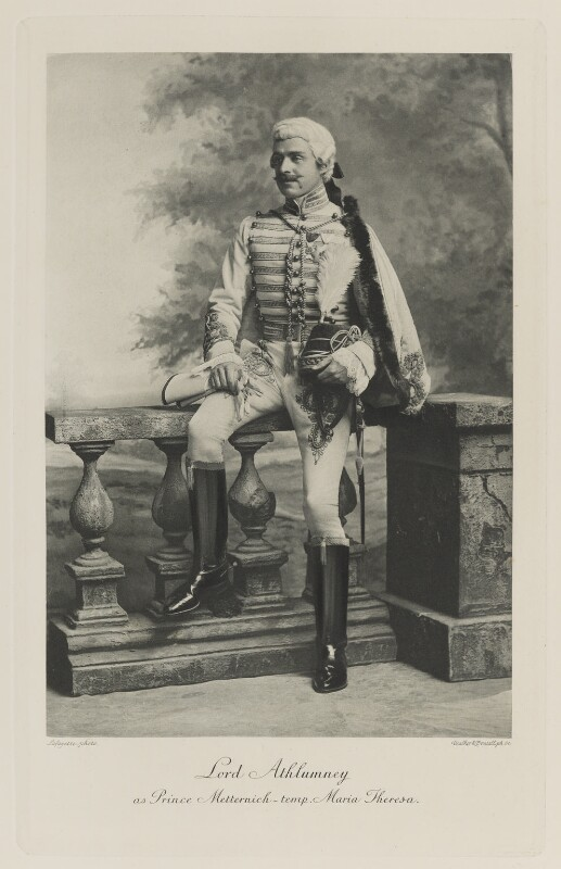 James Herbert Gustavus Meredyth Somerville, 2nd Baron Athlumney as Prince Metternich at the time of Maria Theresa, by Lafayette, photogravure by  Walker & Boutall, 1897; published 1899 - NPG Ax41193 - © National Portrait Gallery, London