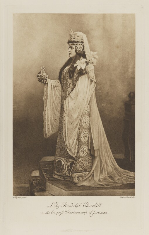 Jeanette ('Jennie') Churchill (née Jerome), Lady Randolph Churchill as the Empress Theodora, wife of Justinian, by Lafayette, photogravure by  Walker & Boutall, 17 July 1897; published 1899 - NPG Ax41203 - © National Portrait Gallery, London