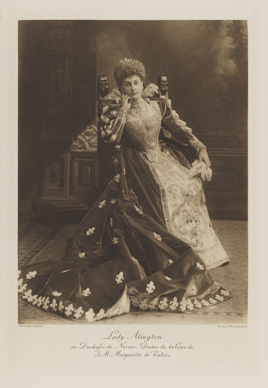 Evelyn Henrietta (née Leigh), Lady Alington as Duchesse de Nevers, Dame de la Cour de S.M. Marguérite de Valois, by Henry Bullingham, photogravure by  Walker & Boutall, 1897; published 1899 - NPG Ax41213 - © National Portrait Gallery, London