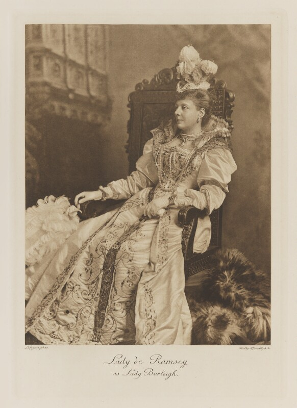 Rosamond Jane Frances (née Spencer-Churchill), Lady de Ramsey as Lady Burleigh, by Lafayette, photogravure by  Walker & Boutall, 1897; published 1899 - NPG Ax41232 - © National Portrait Gallery, London