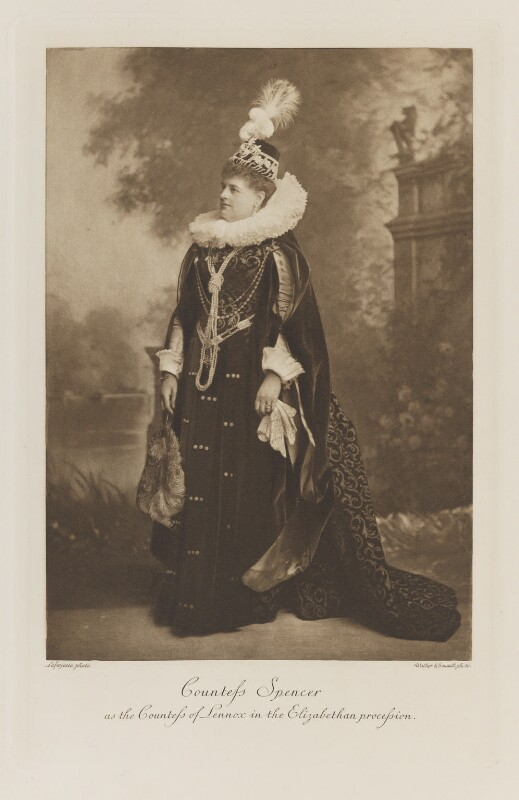 Charlotte Frances Frederica Spencer (née Seymour), Countess Spencer as the Countess of Lennox in the Elizabethan procession, by Lafayette, photogravure by  Walker & Boutall, 17 September 1897; published 1899 - NPG Ax41253 - © National Portrait Gallery, London