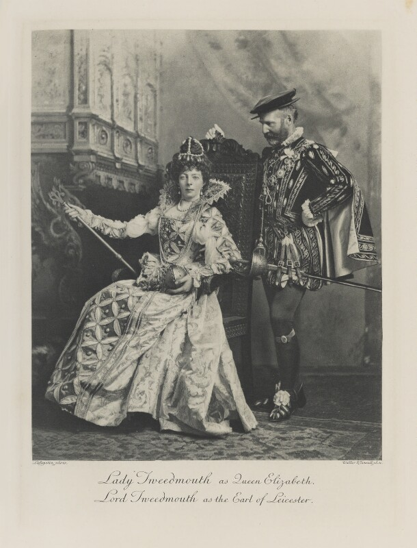 Fanny Octavia Louisa (née Spencer-Churchill), Lady Tweedmouth as Queen Elizabeth I; Edward Marjoribanks, 2nd Baron Tweedmouth as the Earl of Leicester, by Lafayette, photogravure by  Walker & Boutall, 10 July 1897; published 1899 - NPG Ax41257 - © National Portrait Gallery, London