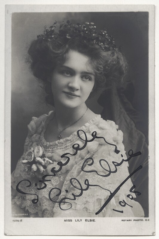 Lily Elsie (Mrs Bullough), by Richard Williams Thomas, published by  Rotary Photographic Co Ltd, circa 1905 - NPG Ax45853 - © National Portrait Gallery, London