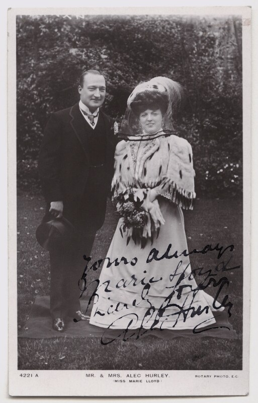 Alexander ('Alec') Hurley; Marie Lloyd, published by Rotary Photographic Co Ltd, 1905 - NPG Ax45915 - © National Portrait Gallery, London