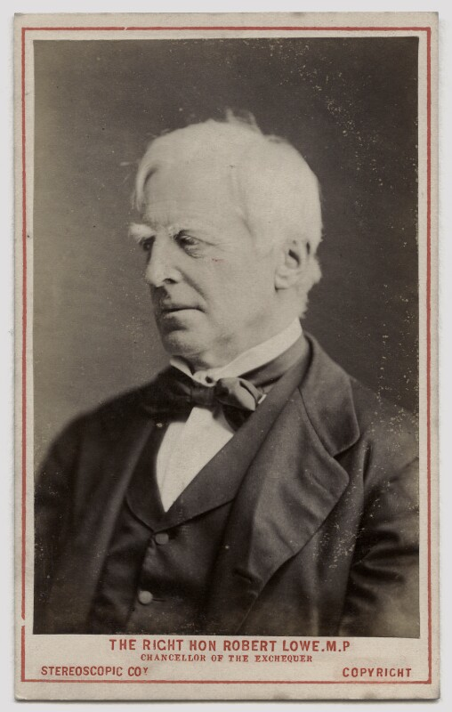 Robert Lowe, 1st Viscount Sherbrooke, by London Stereoscopic & Photographic Company, circa 1873 - NPG Ax46204 - © National Portrait Gallery, London