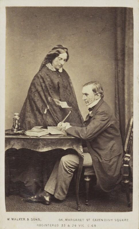 Catherine Gladstone (née Glynne); William Ewart Gladstone, by William Walker & Sons, 1862-1866 - NPG Ax68087 - © National Portrait Gallery, London