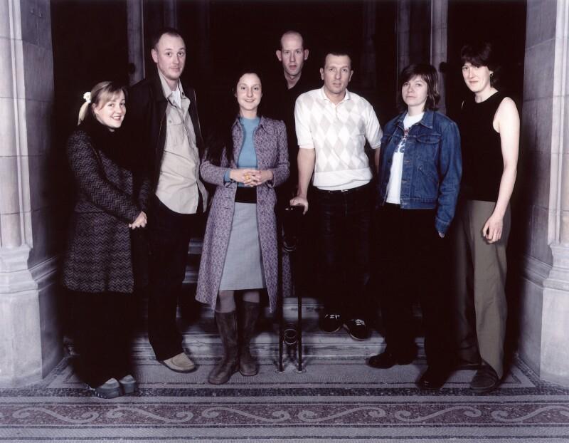Sarah Dunn; Trevor Ray Hart; Tara Bonakdar; Harry Borden; Jake Walters; Wendy House; Kat Picton-Phillipps, by Simon James, by  Trevor Leighton, 9 March 2000 - NPG x88494 - © Trevor Leighton / National Portrait Gallery, London