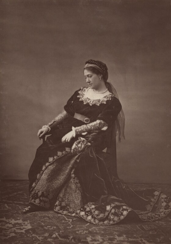 Madge Kendal as Lady Giovanna in 'The Falcon', by Unknown photographer, 1879 - NPG Ax7670 - © National Portrait Gallery, London