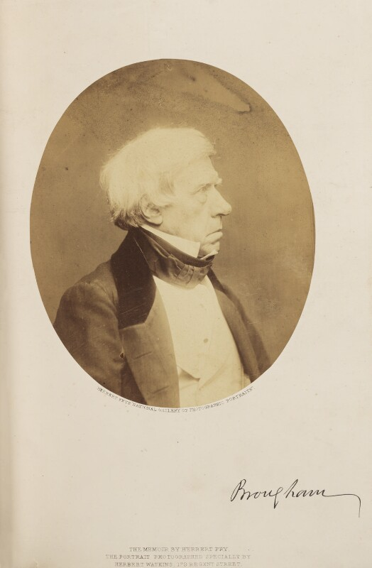 Henry Brougham, 1st Baron Brougham and Vaux, by Herbert Watkins, 7 March 1857 - NPG Ax7907 - © National Portrait Gallery, London